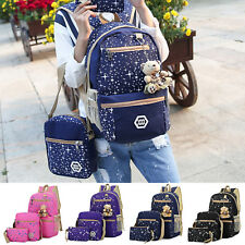 3PCS Fashion Women Girls Backpack Rucksack School College Travel Canvas Bag