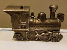 Vintage Pewter Train Steam Engine Coin Bank