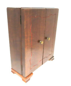 Vintage Tarnish Resistant Wood Silverware Flatware Stand Up Storage Chest Box 84