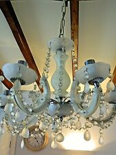 Pretty Retro Opaque Glass  5 Branch Chandelier Chrome Fittings