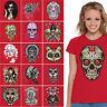 WOMENS Sugar Skulls T-shirt Dia De Los Muertos Halloween All Design shirts RED