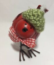 Shabby Chick Christmas Wobbly Robin With Knitted Hat Metal Red Decoration Xmas