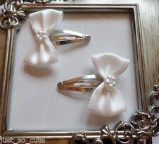 girls hair clips snap clips slides bendies  hair clip light  ivory bows