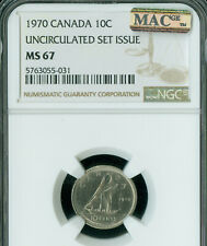 1970 CANADA 10 CENTS NGC MS67 PQ 2ND FINEST GRADE MAC SPOTLESS .
