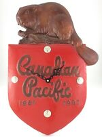 Canadian Pacific Railway Shield Clock Beaver Plaque Sign Metal Vintage CPR S903