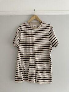 Folk Clothing Mens T-shirt Size 4 Large Bnwt Cream Brown Stripe