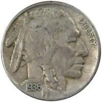 1936 S Indian Head Buffalo Nickel 5 Cent Piece VF Very Fine 5c US Coin