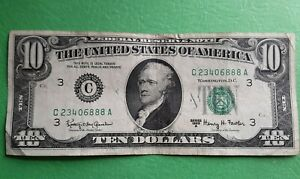 1963 A $10 TEN DOLLARS Bill PENNSYLVANIA  PHILADELPHIA USA NOTE GREEN SEAL GOOD