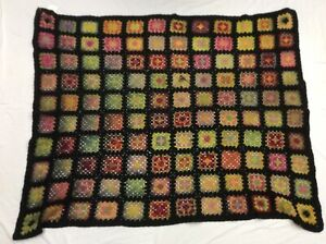 Vintage Crochet Afghan Knit Flower Hexagon Throw, Blanket  70's Colors