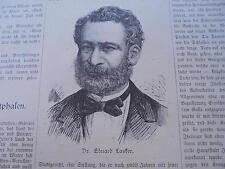 1884 Zeitungsdruck 250  / Eduard Lasker Nachruf New York Jarotschin