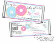 Gender Reveal Candy Bar Wrappers - Donuts Gender Reveal Party - Set of 12