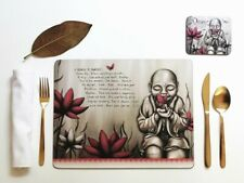 Placemat and Coaster Set, Lisa Pollock, Red Monk