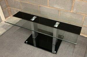 GLASS HALF BLACK COFFEE TABLE