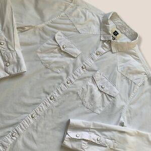 Levi's White Long-sleeve Snap Button Casual Shirt 2 Chest Pockets Size Large
