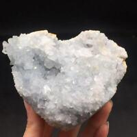 Natural Aquamarine Crystal Quartz Cluster Geode Healing Egg Decoration 676g