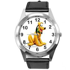 PLUTO DOG FILM CARTOON MICKY MOUSE FRIEND CD DVD TV GAME BLACK LEATHER WATCH