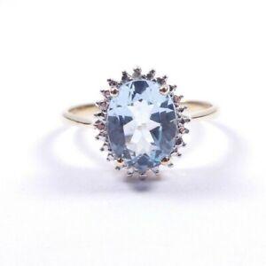 Aquamarine Diamond Cluster Ring 9 carat gold Size P1/2