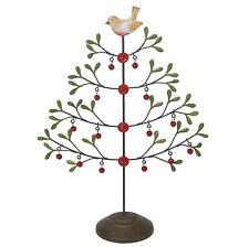 dotcomgiftshop JINGLE BELLS TABLETOP METAL CHRISTMAS TREE WITH ROBIN AND BUTTONS