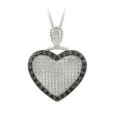 925 Silver White & Black CZ Puffed Heart Necklace, 18""