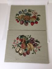 2 Vintage Finished Fruit Needlepoint Canvases for Framing or Pillows 13x16 (Wd)