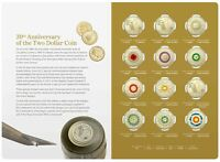 2018 30TH Anniversary of the $2 DOLLAR COIN Folder Set - 12 COLOURED COINS UNC