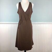 Size Large L Athleta Womens Brown Sleeveless Stretch Knit V Neck Wrap Tank Dress