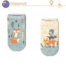 2 Pairs Women Girls Socks Hosiery Ankle Low Cut Animal Fox Cute Casual