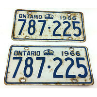 Set 2 Ontario License Plates Pair Vintage 1966 Canada Blue Lettering 787-225