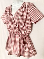 Hopely Peplum Blouse Size Medium Red White Gingham Plaid Side Tie Top