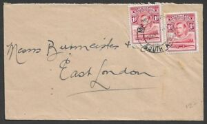 Basutoland KGVI 1d x 2 on cover to East London