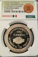 1974 MEXICO SILVER 25G MEDAL DEPARTMENT OF TOURISM NGC PF 68 ULTRA CAMEO SCARCE