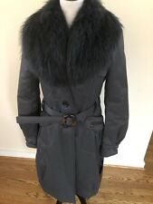 NWT Italian coat with dyed raccoon real fur collar Size 46/12 $1995