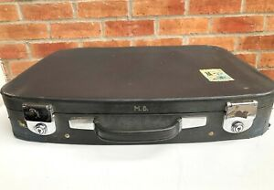 Vintage Suitcase, Monogrammed, M.B. with Bahamas Sticker