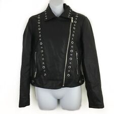 Collection B NY Faux Leather Moto Jacket Grommets Zippers Biker Rocker Sz Small