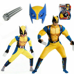 UK Boys Wolverine Costume X-Men Tight Muscle Suit Cosplay Party Kids Gifts