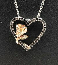 Sterling Silver 925 Two Tone Black Onyx CZ Pave Rose Heart Love Necklace 18""