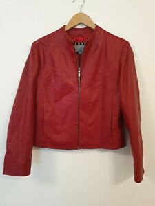 PER UNA Real Leather Cropped Jacket Size UK14