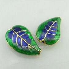 (98301-2X) Enamel Alloy Blue Green Plant Leaf Cloisonne 17mm Spacer Bead 1.5mm