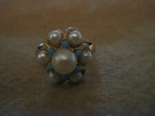 Vintage BEAUTIFUL Gold Turquoise & Faux Pearl Cocktail Ring....Avon...#3121