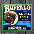 Vintage Original 1930s BUFFALO APPLES FRUIT CITRUS Crate Box Label Unused NOS