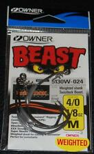 OWNER 5130W-024 WEIGHTED BEAST w/ TWISTLOCK Hook Size 4/0 - 1/8 oz Weight 3 Pack