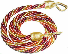 STUNNING SILKY TWISTED ROPE CURTAIN TIE BACKS, X2, VARIOUS COLS, ART 1085.C