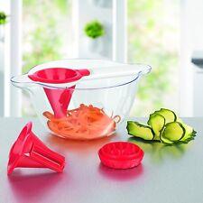 GOURMETmaxx Spiralschneider mit Salatschüssel Auffangschüssel rot/weiß 5-teilig