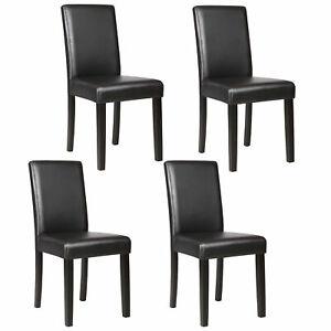 BackrestSet of 4 Dining Chair Elegant Design Kitchen Dinette Room Black Leather