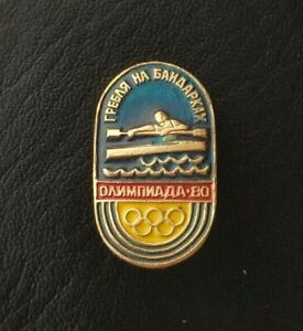 1980 Kayaking Race XXII Olympic Games Moscow Soviet Pin Badge Sport Rowing USSR