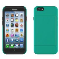 iPHONE 6 6S SHOCK-PROOF HYBRID BODY ARMOR CASE COVER WITH CARD ID SLOT KICKSTAND