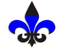 4x4 inch Fleur De Lis Shaped BLUE LINE Sticker - officer thin cop flag police