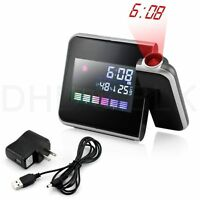 Digital Weather LCD Projection Snooze Alarm Colock with Colorful LED Backlight T