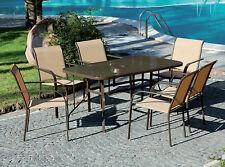 """Tavolo Set Tavolo e sedie """"Dune Dining"""" marrone arredo estero per giardino"""