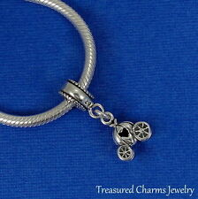 .925 Sterling Silver Cinderella PUMPKIN CARRIAGE EUROPEAN Dangle Bead CHARM